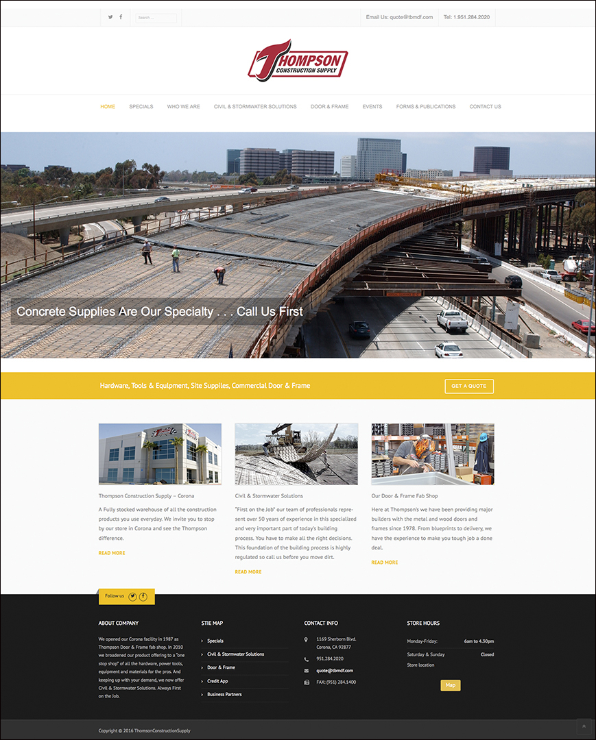 Thomson Construction Supply webpage