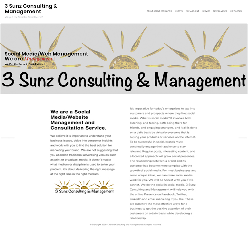 3 Sunz Consulting and Management web page